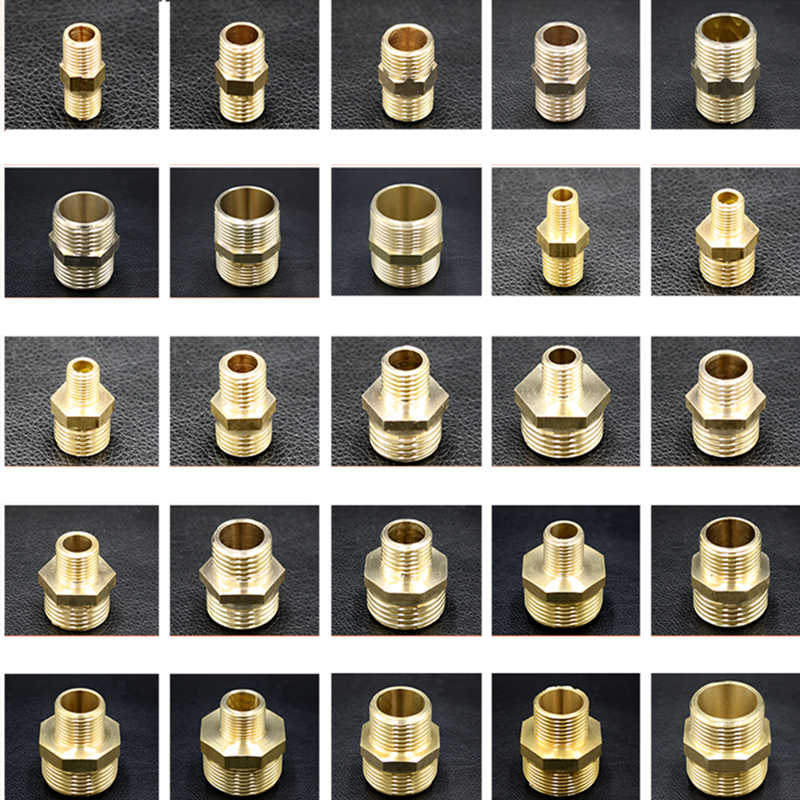 "1/8"" 1/4"" 3/8"" 1/2"" 3/4"" 1"" Male Thread Brass Pipe Equal Reducing Nipple Fittings Brass Quick Adapters Connectors"