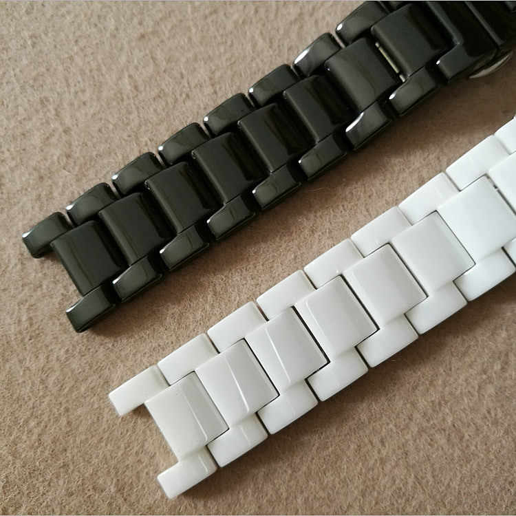 Керамический ремешок с зазубриной 16*9 16*10 20*11 мм, браслет для мужчин и женщин, ремешок для часов с бабочкой, Пряжка для часов, часы для часов, часы