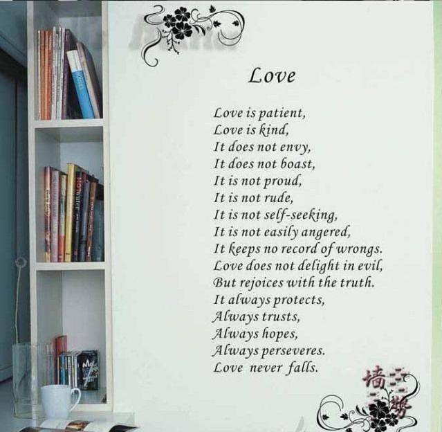 Letter Love is Patient Love is Kind Wall Decal Love Quotes Bible Wedding Wall Art Home Room Decoration  sc 1 st  Aliexpress & Online Shop Letter Love is Patient Love is Kind Wall Decal Love ...