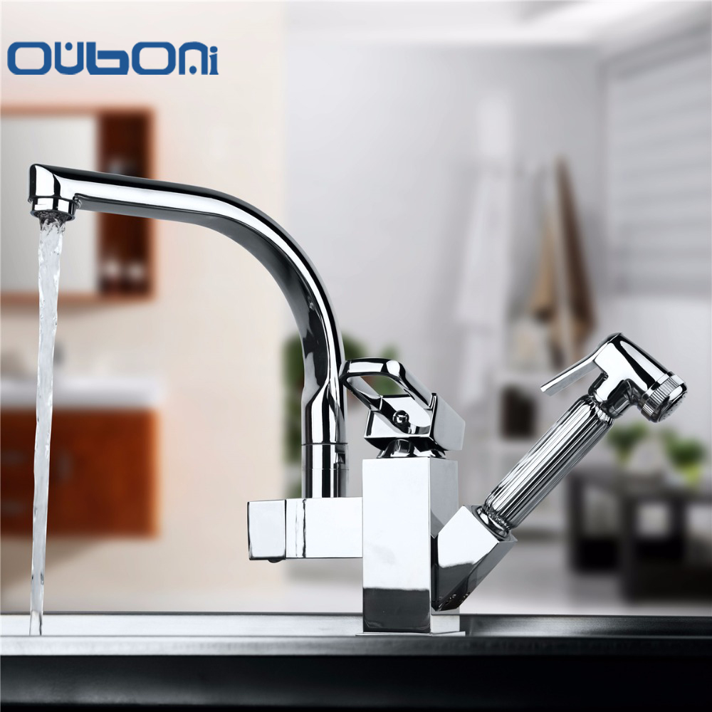 Pull Out Kitchen Faucet Double Spout Swivel Spray Chrome Brass Basin Sink Faucet Water Mixer Tap Torneira Cozinha free shipping high quality chrome brass kitchen faucet single handle sink mixer tap pull put sprayer swivel spout faucet