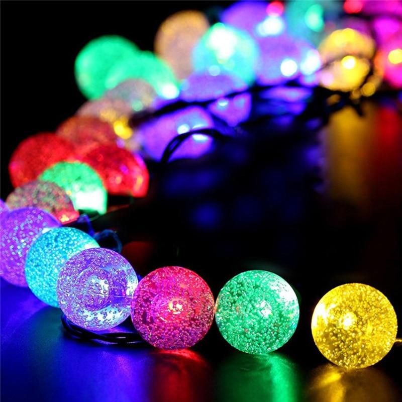 Warm White Solar Garden Fairy Lights: Solar Outdoor String Lights 20ft 30 LED Warm White Crystal