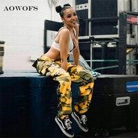 AOWOFS Mujeres Calientes Pantalones de Camuflaje Amarillo Naranja Camo Pantalón con bolsillos de Cintura Alta Hip hop Niñas Pantalón Militar Del Basculador danza pantalones