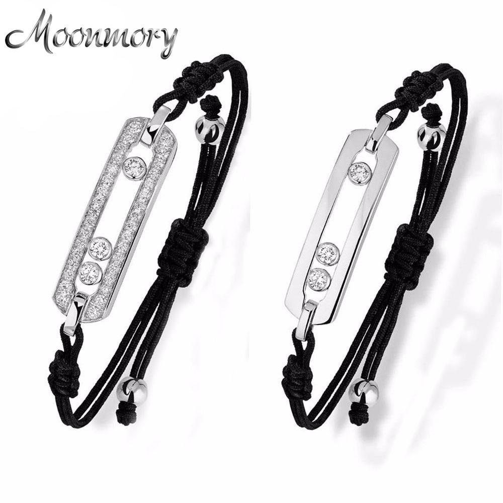 Moonmory France Hot Sale Smycken Move Stone Armband 925 Sterling Silver Armband med svart rep justerbart armband för kvinnor
