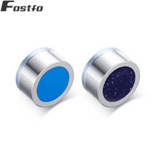 Fostfo Fashion Round Stainless Steel Magnetic Stud Earrings For Men Women Blue Color Double Side Small Earrings Women Jewelry(China)