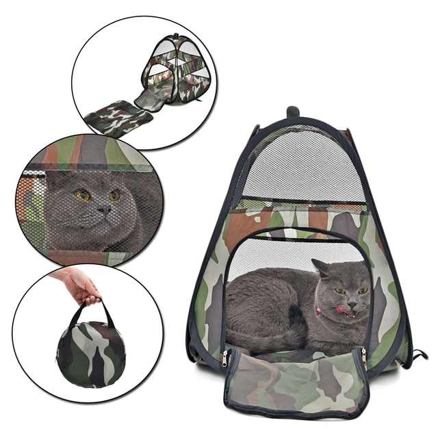 Products For Animals Camouflage Cat Tent Ferret House Rat Cage Outdoor Travel Easy to Carry Foldable Pet Bed Tower Kitten Home