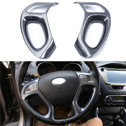For HYUNDAI IX35 2010-2015 2PCS ABS Car STEERING WHEEL PANEL COVER BADGE INSERT TRIM DECAL CARBON FIBER STYLING ACCESSORIES