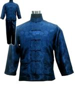 Vintage Navy Blue Chinese Men Satin Pajama Set Plus Size XXXL Pyjamas Suit Long Sleeve Shirt