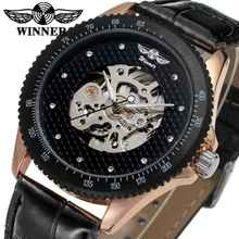 цена на T-WINNER Luxury Fashion Sport Men Automatic Mechanical Watch Skeleton Crystal Decorated Leather Strap relogio masculino Clock