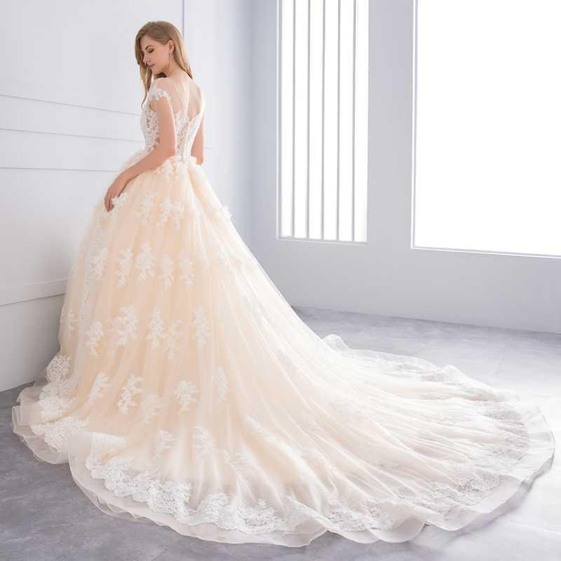 Miaoduo 2018 Vestido דה Noiva כדור שמלת וינטג אדום שמפניה חתונת שמלות תחרת אפליקציות קריסטל חתונת שמלת כלה שמלות