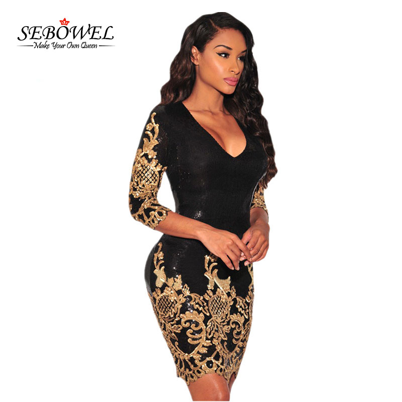 8998ec7f77 SEBOWEL Sequined dresses Party Black Gold Silver 3 4 Sleeves Bodycon Dress  Autumns Night Club Sexy Vestido de Festa LC22794-in Dresses from Women s  Clothing ...