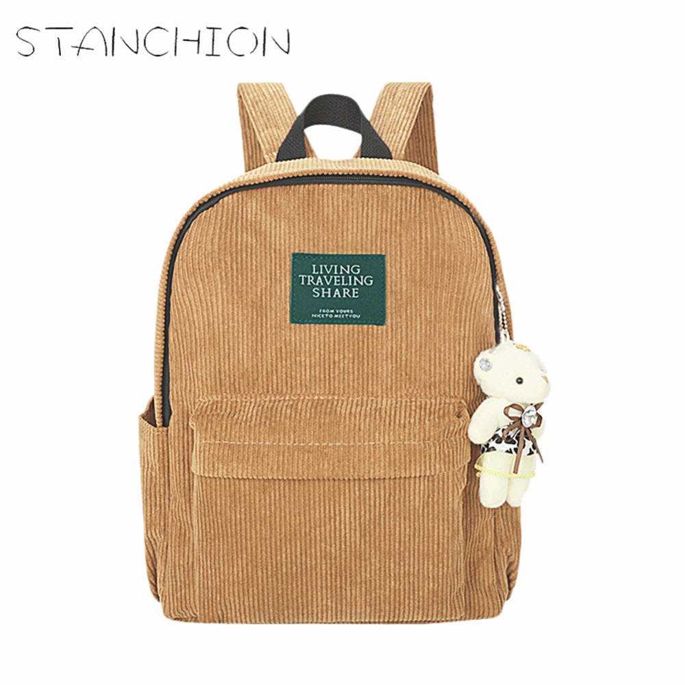 STANCHION Corduroy Women Backpack Simple College Wind Retro Wild School Bag For Teenagers Girl corduroy goes to school