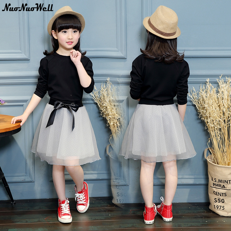 Fashion Kids Baby Girl Dress Clothes Black Sweater Top With Dresses Costume Cotton Children Clothing Girls Set 2 Pcs 3-10 Years fashion kids baby girl dress clothes grey sweater top with dresses costume cotton children clothing girls set 2 pcs 2 7 years