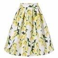 Women Fashion Elegant Lemon Printed High Waist Pleated Skirt One Size Casual Summer Slim Yellow Ladies A-line Midi Bust Skirt