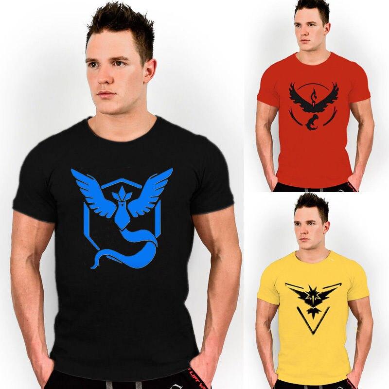 S-XXXL Pokemon Go Team T shirts Men's Short Sleeve Tops Tees Casual T shirts  Valor Team Mystic Team Instinct Pokeball T shirt
