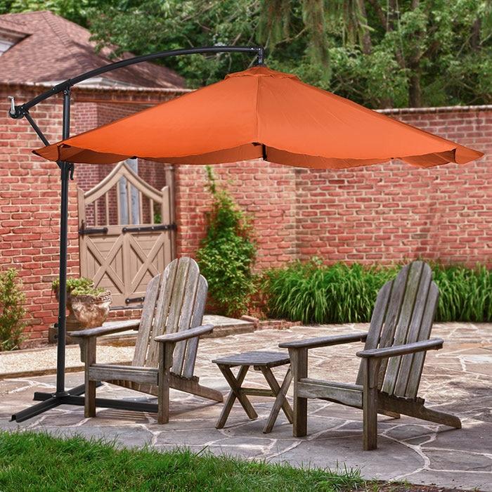 Pure Garden Offset 10 Foot Aluminum Hanging Patio Umbrella-Terracotta the hanging garden