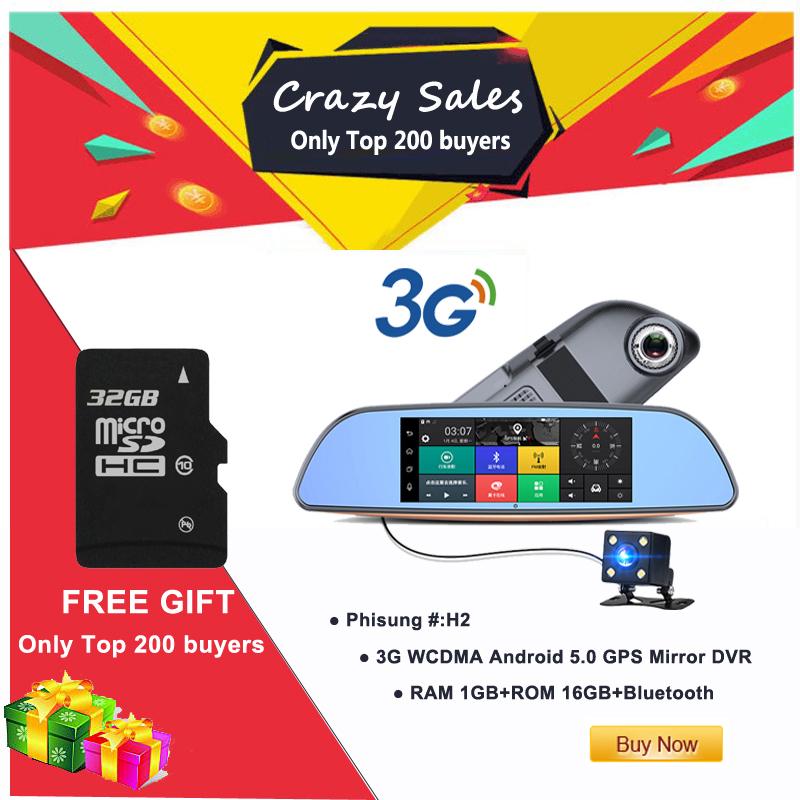 Free 32GB card+3G Car DVR+Android 5.0 Bluetooth GPS WIFI Dual lens rearview mirror camera+FHD1080P camara automovil Phisung H2 1