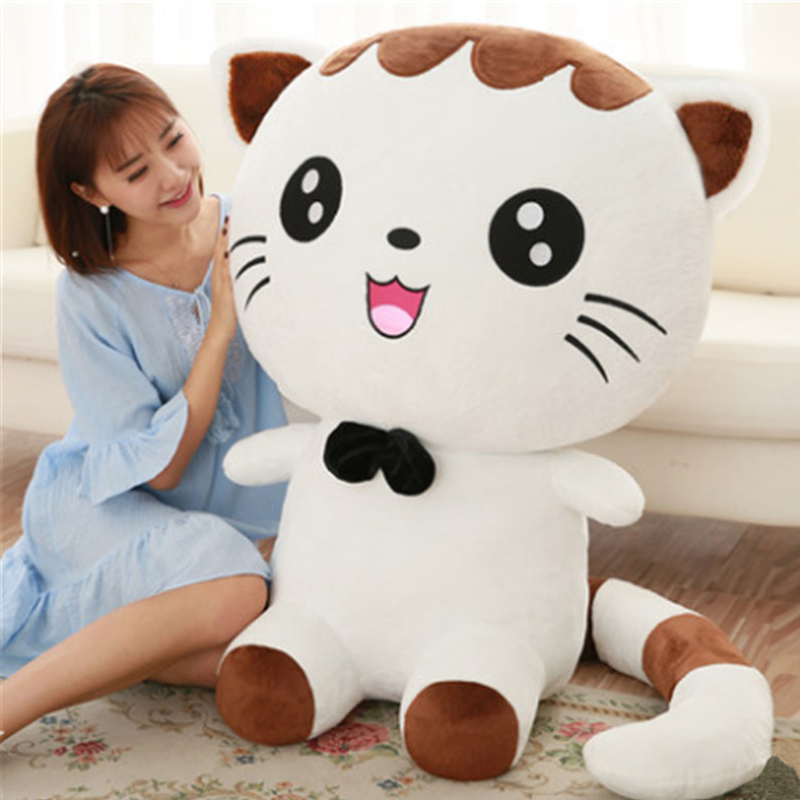 Fancytrader Jumbo 100cm Lovely Soft Cartoon Cat Plush Toy 39'' Huge Animal Cats Stuffed Doll Pillow Baby Present fancytrader lovely soft cartoon fox plush toy stuffed animal fox dog doll pillow creative decoration gift 47inch 120cm 3 colors