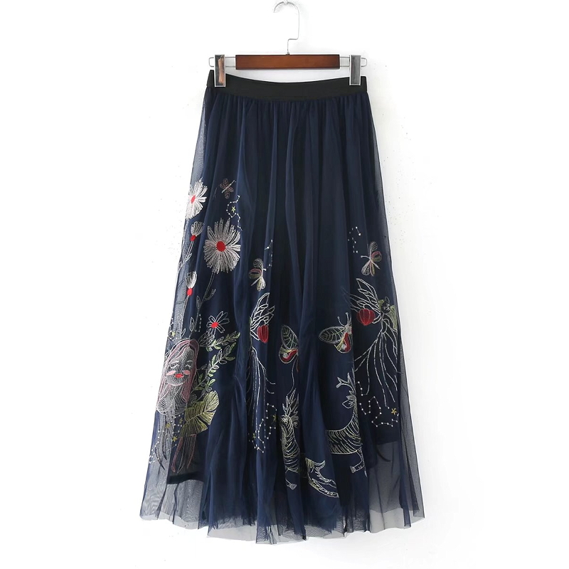 2018 New Women Vintage Chinese Style Flower Embroidery Mesh Yarn Mid Calf Casual Skirt Lady