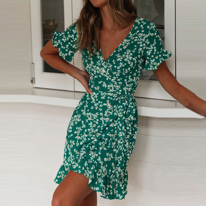<font><b>Boho</b></font> <font><b>Floral</b></font> <font><b>Print</b></font> Ruffles Women <font><b>Dress</b></font> 2019 Summer <font><b>Sexy</b></font> <font><b>V</b></font> Neck <font><b>Short</b></font> Sleeve A Line Chiffon Mini <font><b>Dresses</b></font> <font><b>Beach</b></font> Vacation Sundress image