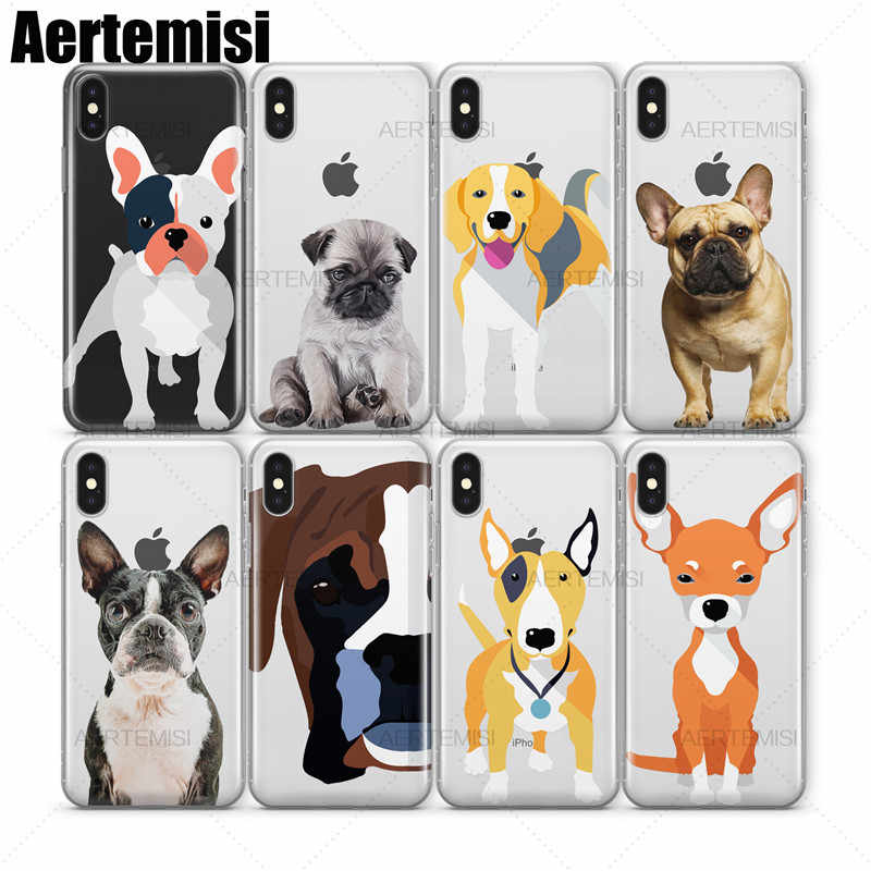 Aertemisi Pug Beagle บอสตัน Terrier Boxer Bull Terrier Clear TPU สำหรับ iPhone 5 5s SE 6 6s 7 8 Plus X Xs XR สูงสุด