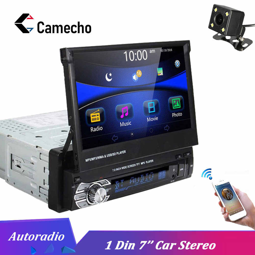 "Camecho Car Stereo audio Radio Bluetooth 1DIN 7"" HD  Autoradio Touch Screen Monitor DVD MP5 SD FM USB Player Rear View Camera"