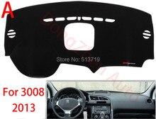 Car dashboard Evite cojín ligero Instrumento cubierta del escritorio de la plataforma Esteras Alfombras de Automóviles Para peugeot 3008 2013