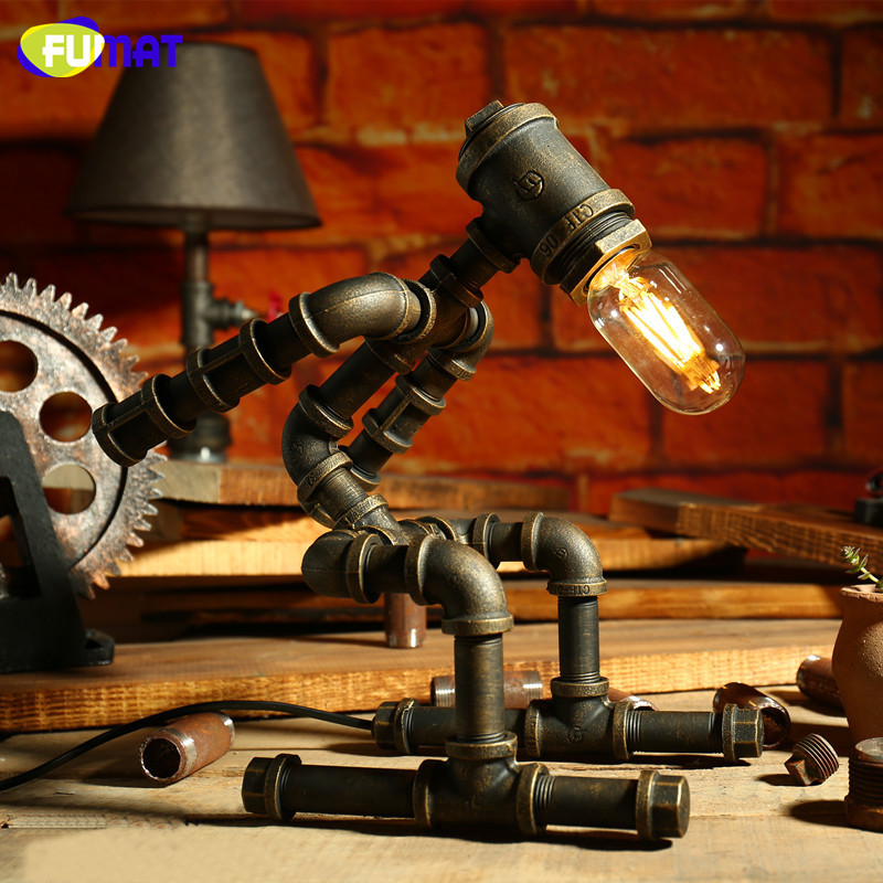 FUMAT Loft Iron Pipe Table Lamps with Edison Bulb LED Desk Lamp Industrial Vintage Water Pipe Table Lamps Robot Design fumat creative iron water pipe table lamps led industrial loft vintage desk lamps cafe bar robot table lamps for bedroom