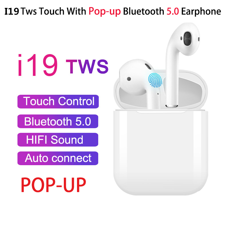 i19 <font><b>TWS</b></font> Wireless Earphone <font><b>Bluetooth</b></font> <font><b>5.0</b></font> headset 1:1 with Charging Case earbuds For mobile phone with good chip pk <font><b>i12</b></font> i16 i20 image