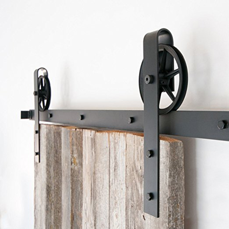 Discount 5-7.5FT Single Barn Door Wood Hardware Rustic Black Classic Sliding Barn Wood Door Roller Sliding Track Kits