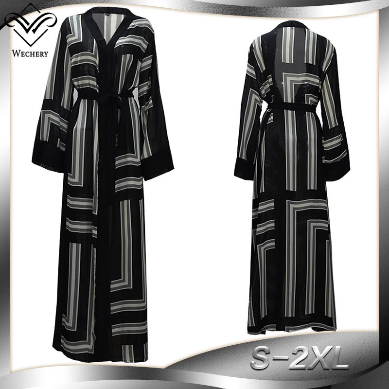 Wechery Women Plus Size Abaya Loose Open Robes Black & White Stripped Muslim Dress Ladies Islamic Garment