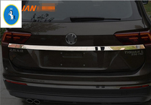 Yimaautotrims Rear Cover Tailgate Trim Hatch Back Door Handle Molding Boot Garnish Strip For Volkswagen VW Tiguan 2016 - 2018