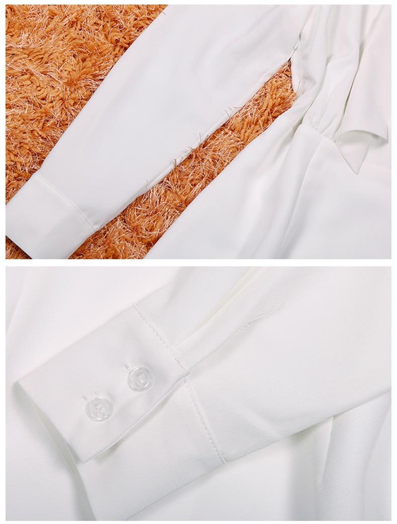 High Quality Autumn Fashion Women Dress 18 New Solid Long Sleeve Bow Collar Elegant Knee-Length Dresses Vestidos C2361 7