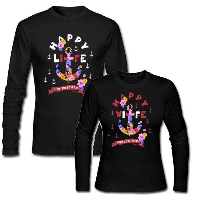 Dia dos namorados Camisetas Wiffe Feliz Vida Feliz Engraçado Das Mulheres  Dos Homens Top Tee Camisetas 7a6e6629eb9dc