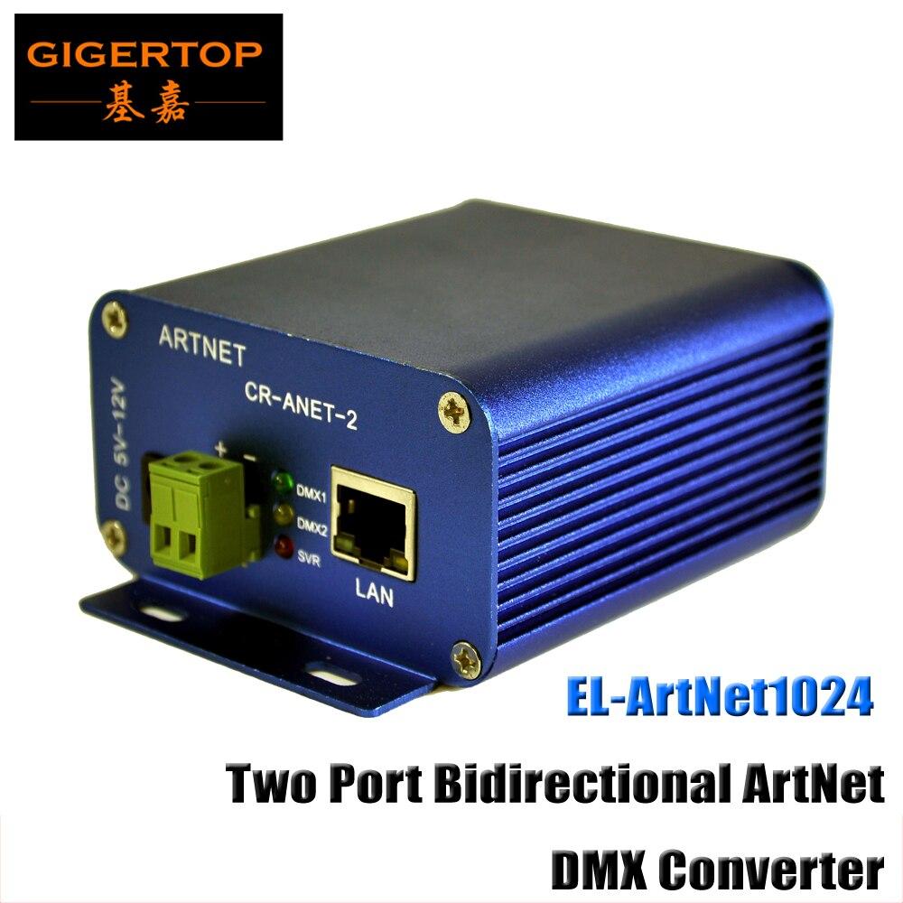TIPTOP EL ArtNet1024 Two Port Bidirectional ArtNet/DMX Converter Standard DMX512 Output RJ45 Net Connector Sulite/DMX LAN512 fast shipping fast shipping ltech dc12v artnet dmx converter artnet dmx 2 artnet input dmx 1024 channels output 512 2ch channels