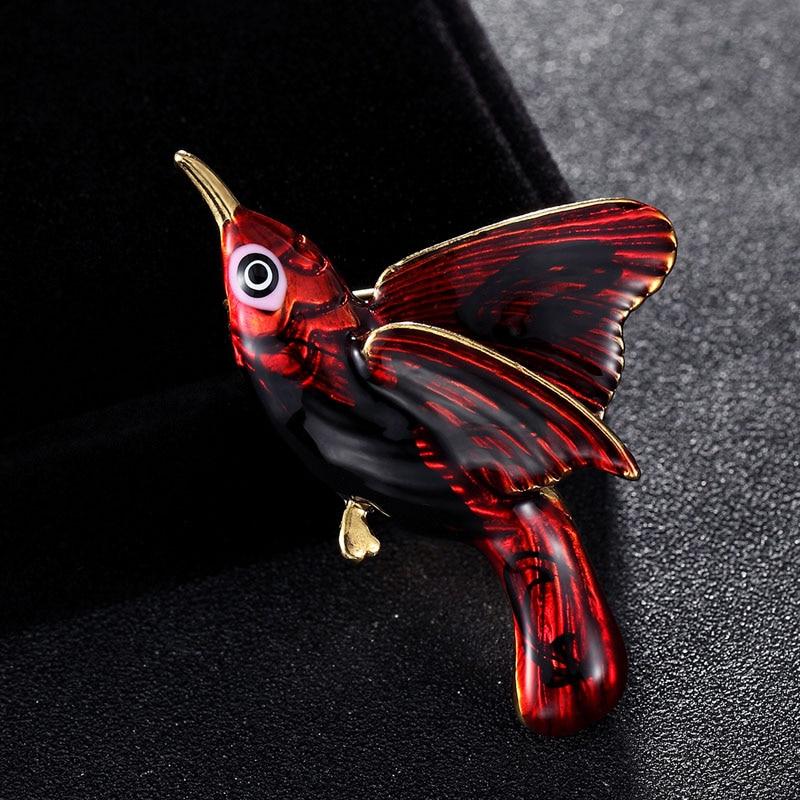 Cool Red Enamel birds Brooch Men s