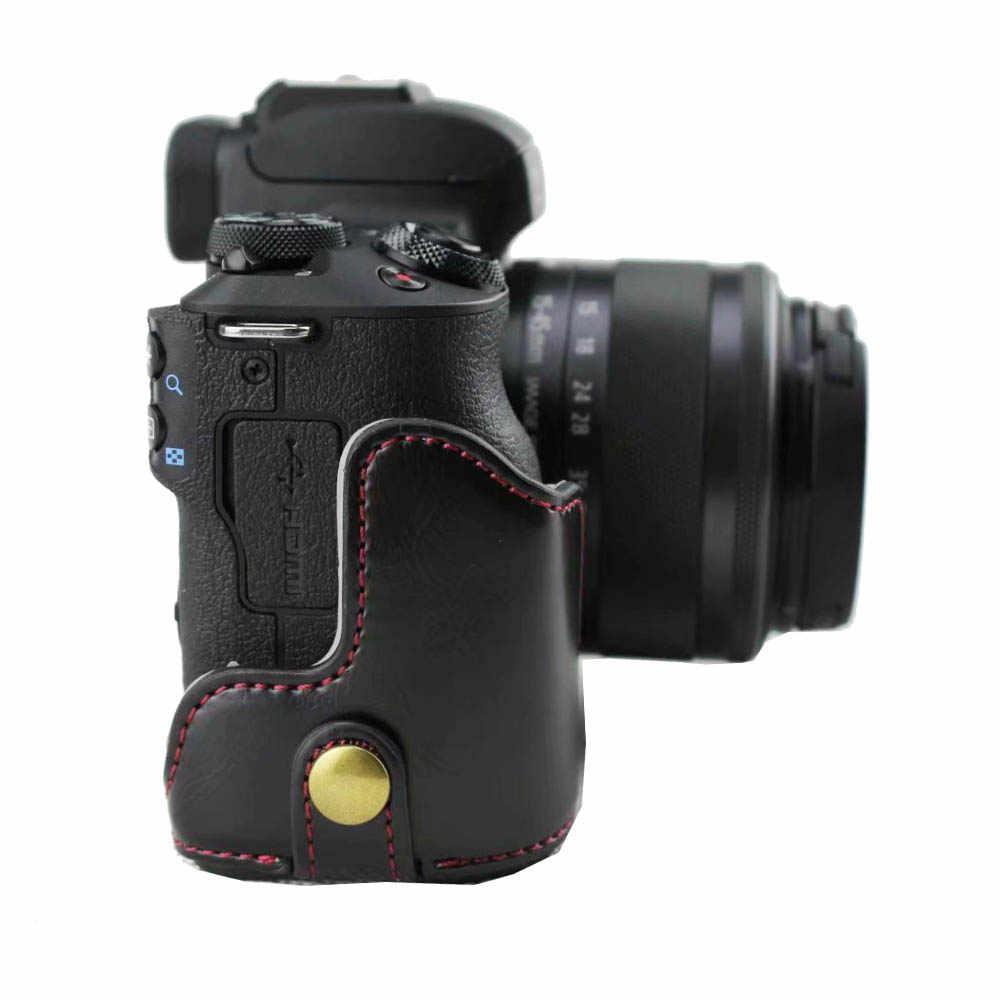 3 цвета из искусственной кожи Камера чехол сумка для цифровой однообъективной зеркальной камеры Canon EOS M50 EOSM50 половина тела Крышка черный кофе коричневый