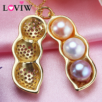 Amazing Price Golden Peanut Pendant Top Quality Pearl Necklace 3 Color Pearl Combination Gift For Mother 7 8mm Pearl Jewelry