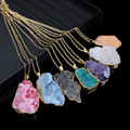 Gold Plated Druzy Rose Quartz Pendant Necklaces Women Irregular Triangle Raw Stone Crystal Necklace Joias Ouro Banhado