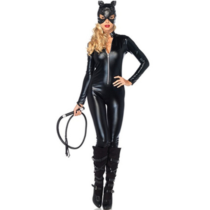 Abbille Hot Costumes Adult Women Deluxe Leather Rider Motorcycle Jacket Cat Lady Catwoman Costume Catsuit Jumpsuit With Hat 2018