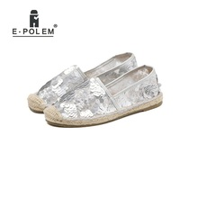 New Linen Straw Sole Sequinned Fisherman Shoes Female Canvas Shoes Round Toe Casual Straw Shoes Lazy Shoes white straw fisherman sandals