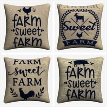 Farm Sweet Animals Vintage Decorative Cotton Linen Cushion Cover 45x45 cm For Sofa Chair Pillowcase Home Decor Almofada