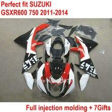 Обтекатель OEM комплект для Suzuki GSXR 600 750, 11, 12, 13, 14 лет; обувь белого, красного и черного цветов; обувь по Обтекатели GSXR600 2011 2012 2013