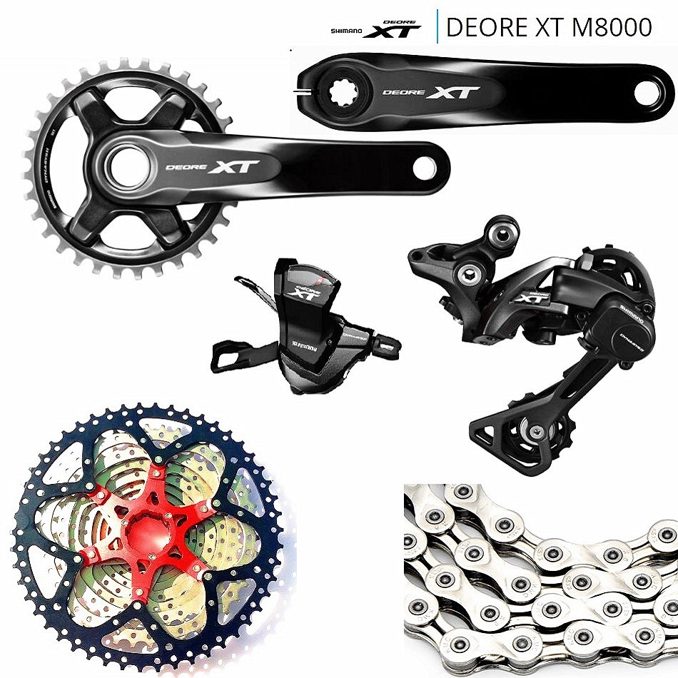 For XC AM FR DH MTB SHIMANO DEORE XT M8000 1x11 11S Speed SUNSHINE-42-46-50T Transmission Combination Crank 165MM and 170MM sales fit xc am fr dh mtb shimano slx m7000 1x11 11s speed 11 40 42 46t sunshin 40 50t mountain bike drive system shimano