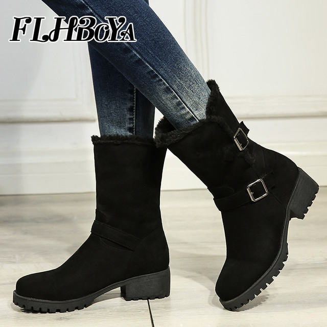 2018 New Womens Winter Low Square Heels Mid-calf Boots For Ladies Buckle  Strap Round Toe Women Black Platform Short Snow Boots 521eb877f0