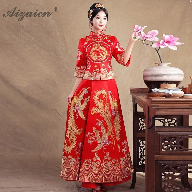 Modern Bride Marry Vintage Gown Qi Pao Women Traditional Chinese Wedding Dress Cheongsam Red Price Long Qipao Orientale Femme