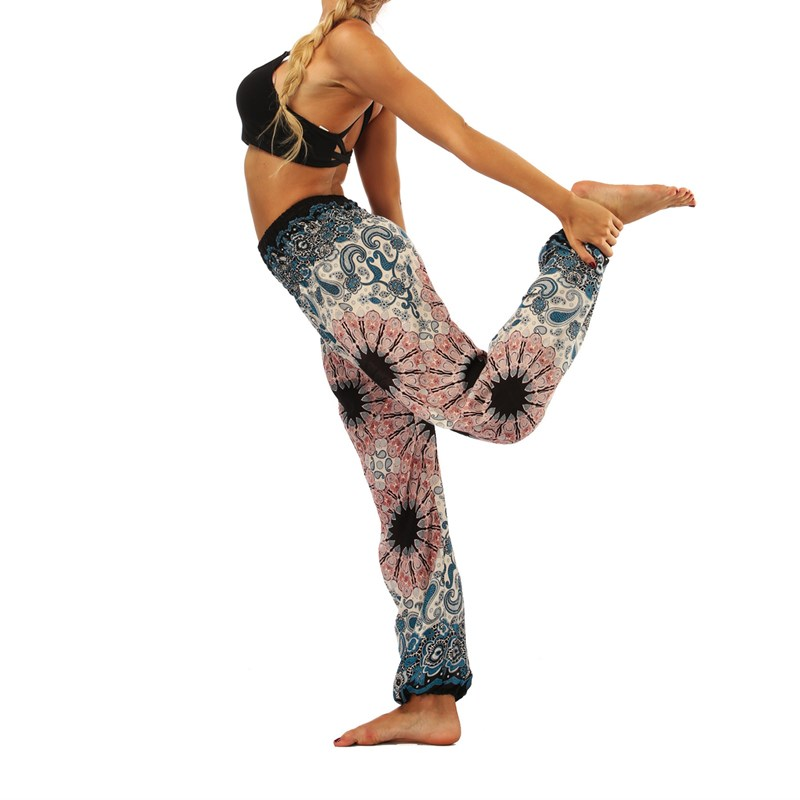Women Bohemian Harem Pants Wide Leg Loose  Pants Floral Print Casual Pants