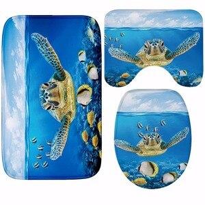 Image 2 - Cammitever 3pcs 욕실 목욕 매트 상어 거북이 깔개 가정용 욕실 슬립 매트 뚜껑 화장실 커버 액세서리