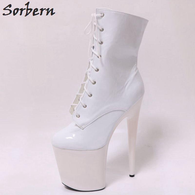 Sorbern White Ankle High Boots 20Cm Heels Platform Punk Shoes Lace-Up Short Boots For Women Custom Colors Gothic Girls Shoes apoepo brand shoes punk style rivet ankle boots for women lace up high heels shoes women boots sexy platform shoes with heels