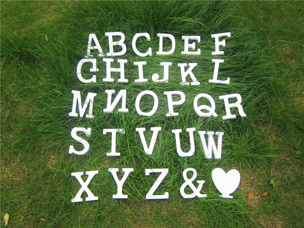 10cm Free Standing Wood Carving Artificial Wooden Wood White Letters