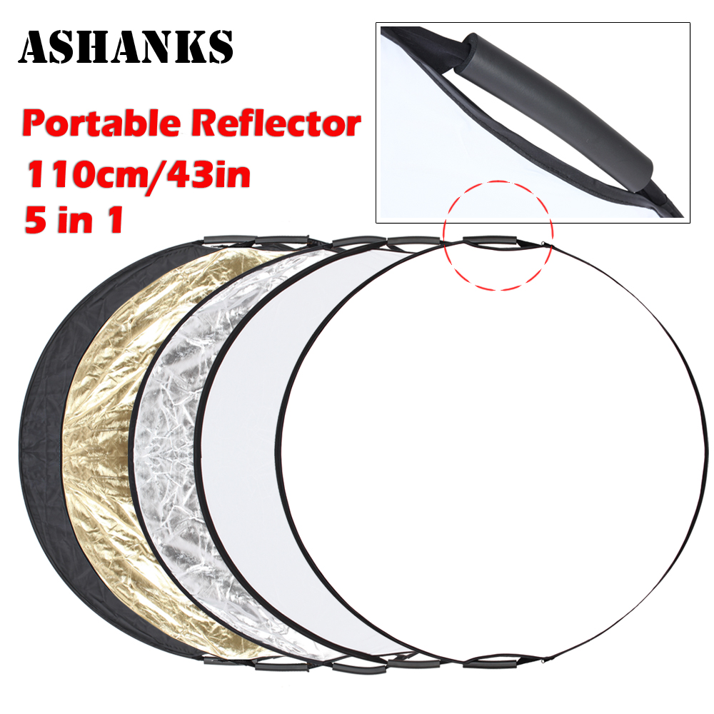 ASHANKS 5 in 1 110cm 43 Portable Collapsible Light Round Photography Reflector for Studio Multi Photo Disc with Carrying Bag